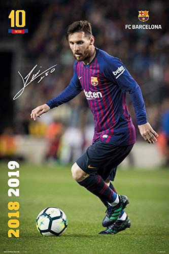 FC Barcelona - Soccer/Sports Poster/Print (Lionel Messi in Action - Season 2018/2019) (Size: 24 inches x 36 inches)