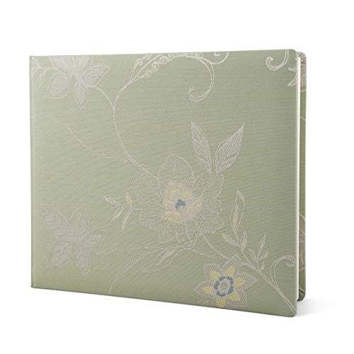 weddix Gästebuch zur Hochzeit in Grün Hochzeitsgästebuch im edlen Stoffeinband mit Stick Muster, hochwertig, Softcover