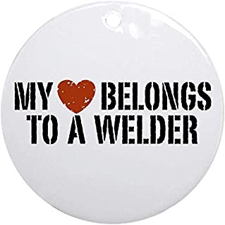128 buyloii My Heart Belongs to A Welder Ornament (Round) Personalized Ceramic Holiday Christmas Ornament Ideas 2019