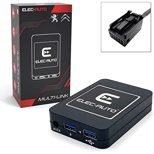 Interfaccia Bluetooth - USB MP3 - Ausiliario per auto PEUGEOT, CITIZEN con presa QUADLOCK | Handsfree Audio Streaming Kit | Caricabatterie | Jack Jack | Invisible Flush Mount Box | Autoradio