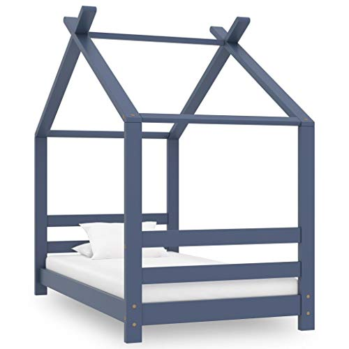 vidaXL Madera Maciza de Pino Estructura de Cama Infantil para Niños Pequeños Forma de Casita Casa Dormitorio Robusta Duradera Gris 70x140 cm