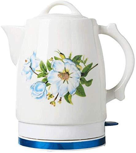 Mnjin Haushalts elektrische Keramik kabellose weiße Kessel Teekanne 2L Krug (Lily)