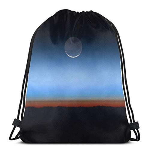 Hangdachang Moon On The Horizon Earth Unisex Bolsas con cordón navideñas Gimnasio Mochila Bolsas Bolsa de Viaje para Senderismo Natación Yoga