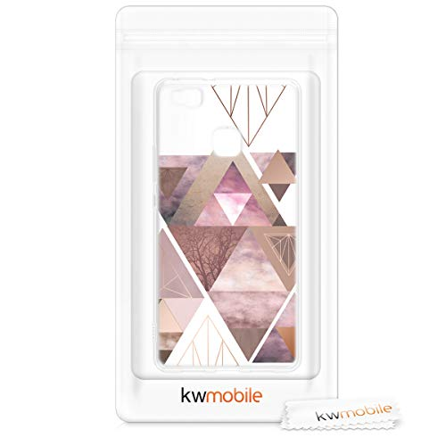 kwmobile Huawei P9 Lite Hülle - Handyhülle für Huawei P9 Lite - Handy Case in Glory Dreieck Muster Design Rosa Rosegold Weiß - 6