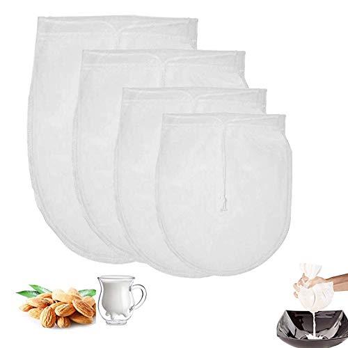 Sacchetto filtro frutta Sacchetto Filtrante Borsa Latte Vegetale Sacchetto Filtro per Latte Mandorle Sacca Multiuso Filtrante Riutilizzabile Colino per Latte Vegetale Mandorle Frutta Secca(4 pezzi)