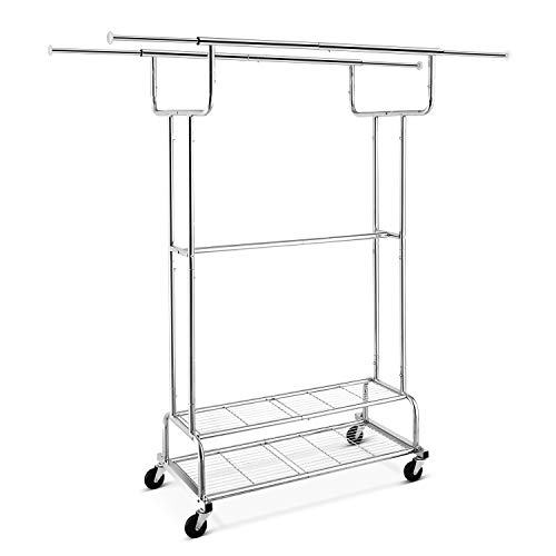 Simple Trending Double Rail Clothes Garment Rack Heavy Duty Commercial Grade Clothing Rolling Rack on Wheels and Bottom Shelves Holds up to 300 lbs Chrome