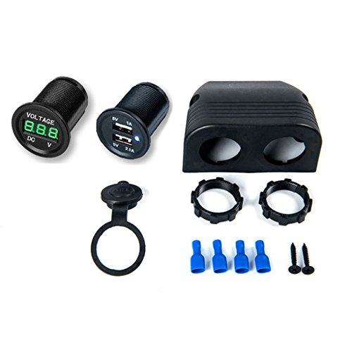 MENGLAJG 12V 24V LED Digital Voltmeter Dual USB Car Charger for Boat Truck Switch Panel