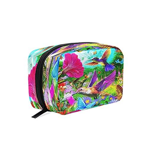 BOLOL - Bolsa de maquillaje con diseño de mariposa de colibrí para cosméticos, neceser, bolsa de viaje grande para mujeres y niñas, organizador portátil, bolsa de almacenamiento