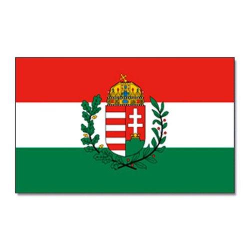 Flaggenking Ungarn mit Wappen Flagge/Fahne - wetterfest, weiß, 150 x 90 x 1 cm, 16899