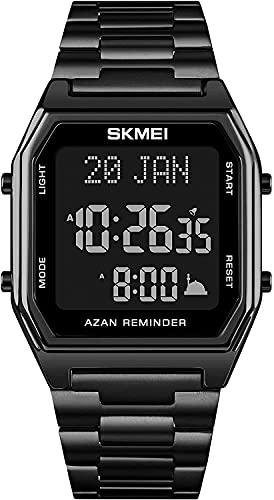 QHG Reloj Informal Digital Dual Time Men Digital Deporte Relojes Marca Cuenta Regresiva Cronómetro Moda DIRIGIÓ Reloj de Pulsera electrónico Masculino (Color : Black)