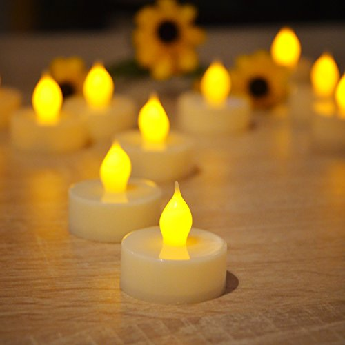 LED Flame-less Realistic Flickering Effect Tea Light Candles Set of 12