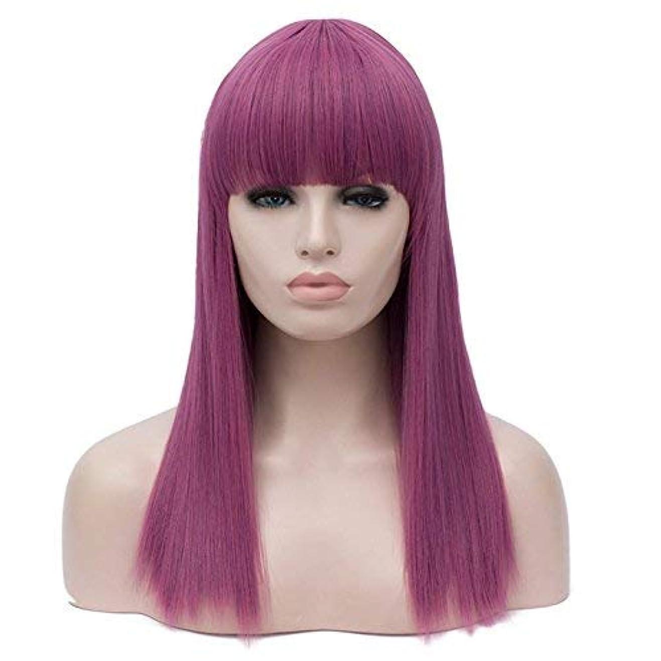 変わる移動昼間かつらかつら女性のための長いストレート合成髪レースフロントかつら高品質耐熱