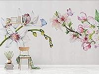 手描きの花壁の牧歌的なフレスコ画壁画壁紙壁の装飾写真壁紙3d壁紙壁画寝室-150x120cm