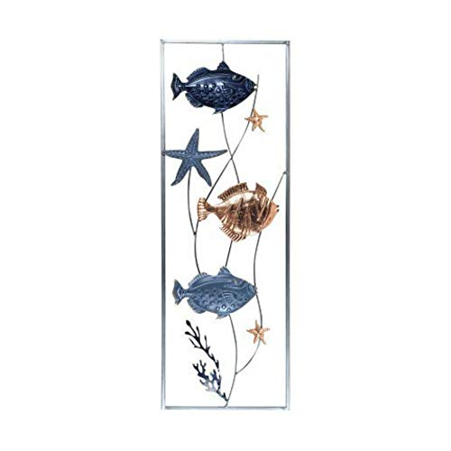 CAPRILO Aplique Pared Decorativo de Metal Peces. Cuadros y Adornos. Decoración Marinera. Barcos. Regalos Originales. 90 x 31 x 2 cm.