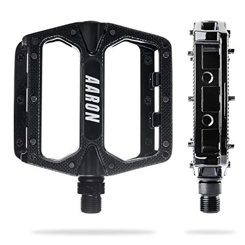 AARON Rock Plattform Mountainbike/MTB/Flat Pedale mit Hochwertigen Industrie-Kugellagern und Top Grip, Trekking, E Bike Fahrradpedale aus Alu, (Schwarz)