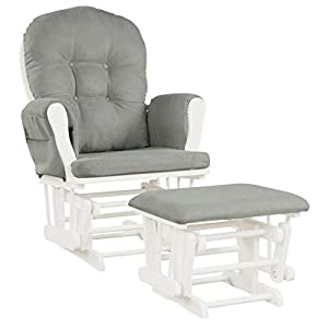 Productworld258 Baby Nursery Relax Rocker Rocking Chair Glider & Ottoman Set – Light Gray