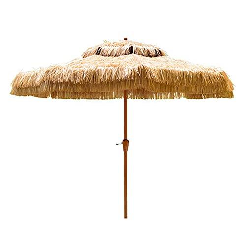 Love-HOMEParaguas de Paja Tiki de 9 pies, Paraguas de Hula Hawaiano, Adecuado para Patio con jardín al Aire Libre (Color Natural sin Base)