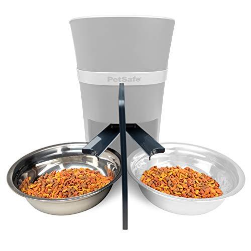 PetSafe Futterteiler für 2 Haustiere, Futterteiler für Futterautomat, Automatischer Futterspender für zwei Hunde oder Katzen, Inklusive Edelstahl Napf, Halbiert die Mahlzeit für Zwei