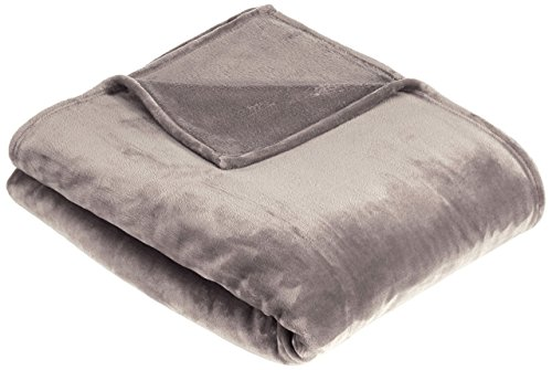 Amazon Basics Velvet Plush Throw Manta suave con tacto de terciopelo, gris, 168 x 229cm