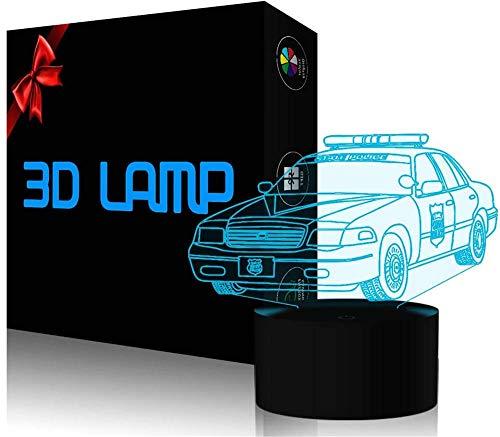 Lámpara LED de ilusión 3D, luz nocturna 3D, coche de policía, 16 colores, acrílico, luz nocturna LED para niños y niñas, como en cumpleaños o vacaciones, sistema solar regalo