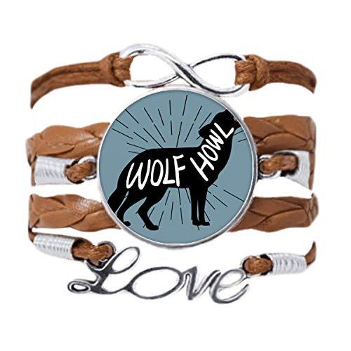 DIYthinker - Pulsera con forma de lobo negro natural, cadena de amor, adorno de cuerda para regalo