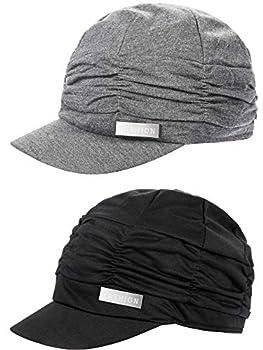 SATINIOR 2 Pieces Women Newsboy Cabbie Cap Beret Hats Baseball Cap Painter Visor Hats for Women Black Grey