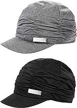 SATINIOR 2 Pieces Women Newsboy Cabbie Cap Beret Hats Baseball Cap Painter Visor Hats for Women(Black, Grey)