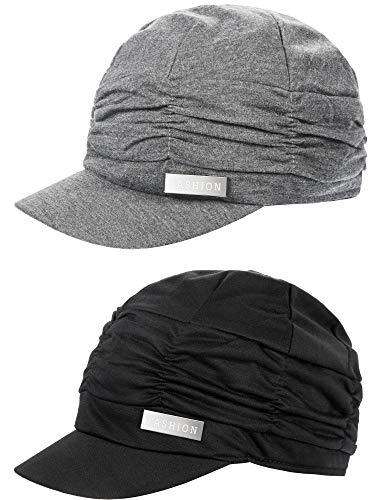 2 Pieces Women Newsboy Cabbie Cap Beret Hats/Cap Bamboo Baseball Cap Hair Loss Turbans Cloche Cotton Painter Visor Hats Soft Hats for Women (Black, Grey)