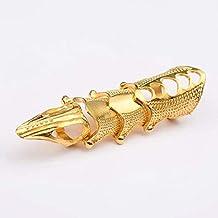 Anel SteamPunk Dourado Estilo Armadura Metal Ajustável + Pingente Chave - 9cm
