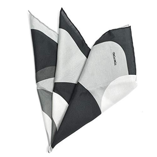 [トムフォード] ポケットチーフ スクエア ハンカチ メンズ フォーマル コットン シルク 総柄 グレー ブラック 黒 イタリア ブランド MADE IN ITALY ビジネス ギフト 結婚式 【並行輸入品】