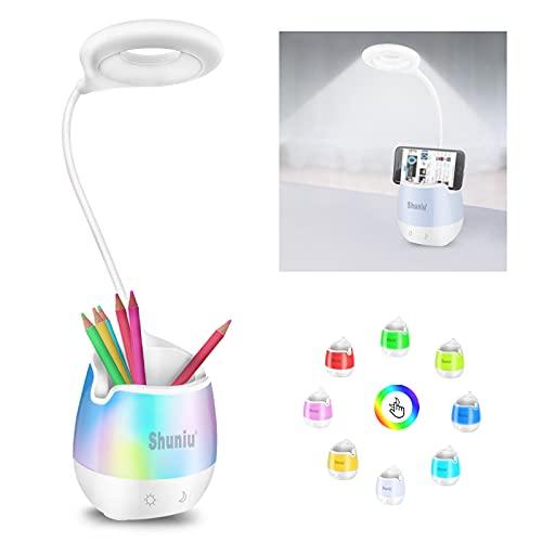 Schreibtischlampe für Kinder, Shuniu 20 LED Dimmbare Tischlampe mit 3 Helligkeitsstufen, RGB 256 Farblicht Bettlampe & Leselampe, Schreibtischleuchte mit Handyhalter Nachtlicht für Arbeiten Studieren
