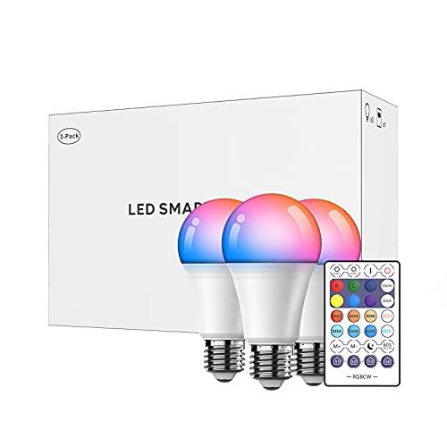 UNISOPH Bombilla RGB, 3PCS 9W 110V E27 Bombilla inteligente 2700-6500K Bombillas regulables que cambian de color Compatible con Bluetooth y control de aplicaciones móviles