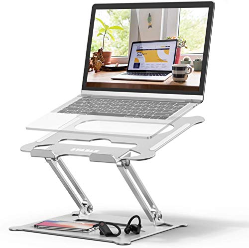 POVO Laptop Stand Adjustable Muti-angle Foldable Portable Laptop Holder Riser with Heat Vents and Storage Groove Compatible with Notebook Tablet Up to 15.6 inches