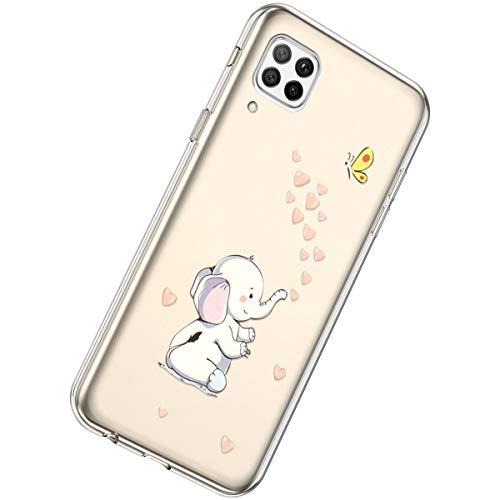 Herbests Kompatibel mit Huawei P40 Lite Hülle Silikon Weich TPU Handyhülle Durchsichtige Schutzhülle Niedlich Muster Transparent Ultradünn Kristall Klar Handyhülle,Elefant Liebe