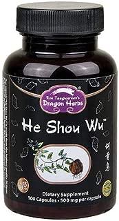 Dragon Herbs He Shou Wu -- 500 mg - 100 capsules - Dietary Supplement - 100% All Natural, Organic, Non-GMO, Vegan, Vegetarian, Superfood, Pure Premium Extract