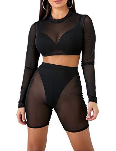 Sedrinuo Damen-Bikini, bauchfreies Oberteil und Shorts, zweiteiliges Outfit - Schwarz - (36 DE/38 DE) M