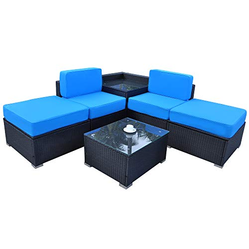 Mcombo Patio PE Wicker Rattan Sofa 6Pieces Sectional Furniture Set All Weather Outdoor Seating Lawn Porch Couch Conversation Loveseat Chair with Cushions and Coffee Tea Table 6082-5PC-A2 (Blue)