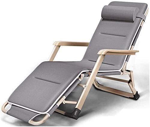 FTFTO Bureau Life Chaise Longue extérieure Patio Plage Pelouse Camping Chaise Portable Chaise Longue de Jardin Personnes Lourdes avec Coussins Support 200 Kg Chaises zéro gravité