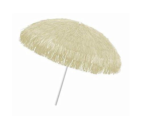 Object, bastschirm, Natur, 180/200cm, Raffia Bast, Sonnenschirm, Hawaii - Style, 8 Streben + knickgelenk, Sonnenschirm mit Fransen, Bast