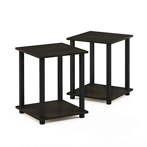 FURINNO End Table, Wood, Espresso/Black, Set of 2