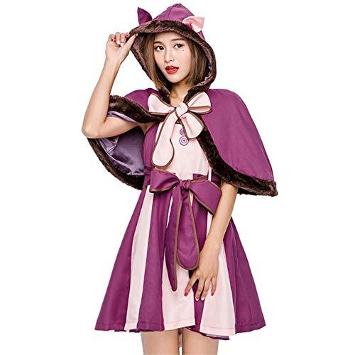 Caliente Alicia en el Pas de las Maravillas Disfraz de Cheshire Gato Cosplay Disfraces de Halloween para las Mujeres Fiesta Alicia Traje conjunto completo M Deep Purple