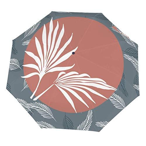 Paraguas plegable manual para lluvia, compacto, ligero, hoja de palma, color naranja tropical, resistente al sol, plegable (interior de vinilo)