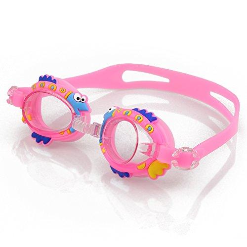 Anyutai Taucherbrille für Kinder Cartoons Anti-Fog-Schwimmbrille zum Schwimmen/Tauchen/Schnorcheln Schwimmzubehör Junior (pink)