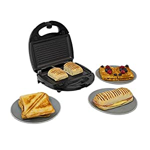 Calitek 3 in 1 Sandwich Toaster, Panini, Waffle Maker with Interchangeable Non Stick Plates, Easy to Clean, Cool Touch 750W – Stainless Steel/Black