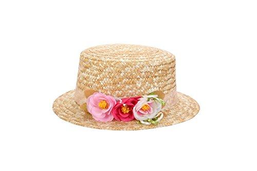 Lote de 5 Sombreros Canotier Surtidos de Vestir con Cinta y Flores - Ideal para Bodas, Fiestas y Celebraciones, Mujer, Mujeres Originales, con flores. Tocados, invitada perfecta baratos Canotier Paja