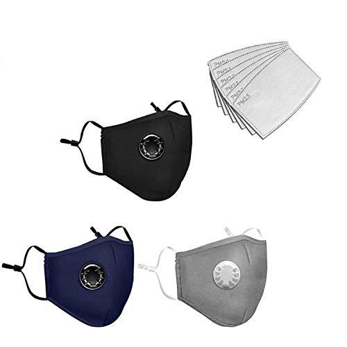 NINGNETI Reutilizable y Lavable Algodón con Carbón Activado Filtro Antipolvo Antivaho,  Ajustable para Los Oídos Pack 3 unidades + 6 unidades Almohadilla NKZ- 0427A29