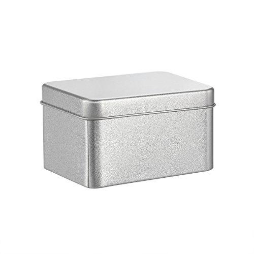 BESTonZON Cajas metálicas cuadradas de Metal Plateado Cajas metálicas Transparentes para Velas, Comida, Manualidades, Almacenamiento Más - Plata (90 x 90 x 55 mm)