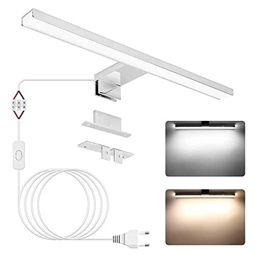 Lampada da specchio a LED, APONUO Lampada da parete con illuminazione frontale per specchio da trucco 40cm  4000K   6000K   1200lm   12W   IP44   Acciaio inossidabile   Luce LED