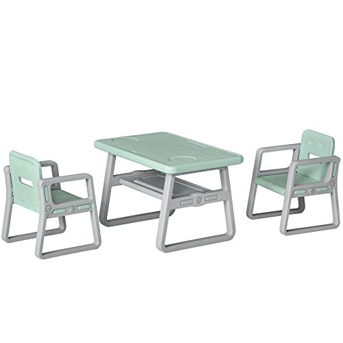 Qaba 3-Piece Kids Table and Chair Set Writing Desk with 2 Comfort Chairs, Storage Space, & Child-Safe Materials, Green