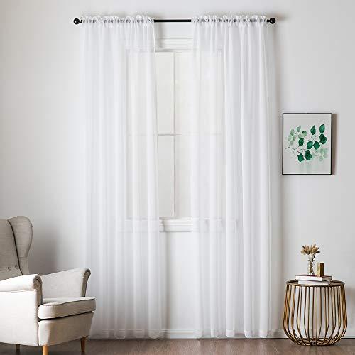 MIULEE 2er Set Sheer Voile Vorhang Stangedurchzug Transparente Gardine aus Voile Polyester Fensterschal Transparent Wohnzimmer Luftig Dekoschal für Schlafzimmer 140 X 225 cm (B x H),Rod Pocket Weiß
